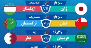 مسابقات امروز جام ملتهای آسیا