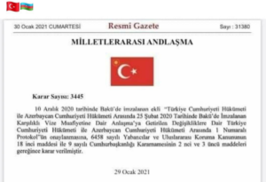 لایحه مسافرت بدون پاسپورت بین آزربایجان و ترکیه امضا شد