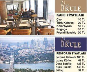قیمتهای کافه و رستوران برج چاملیجا استانبول